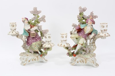 Lot 37 - Pair of Derby candlesticks, c.1770