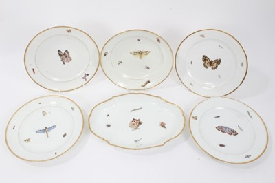 Lot 39 - Unusual Derby plate, c.1815, painted with insects, along with four similar Paris porcelain plates and a lobed dish
