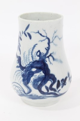 Lot 46 - Worcester dry mustard pot, c.1765, of plain pear shape, painted in blue with the 'Prunus Root' pattern, 8cm height