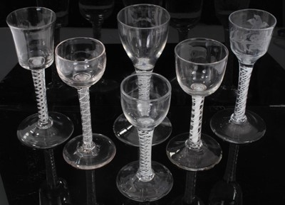 Lot 57 - Six assorted Georgian opaque twist wine glasses, between 13cm and 16cm height