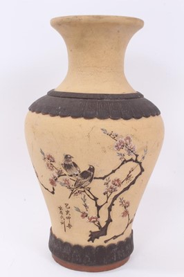 Lot 58 - Large Chinese Republic period Yixing pottery vase, decorated with two birds perched in a blossoming tree, calligraphy beneath them and mark to the base, 32cm height