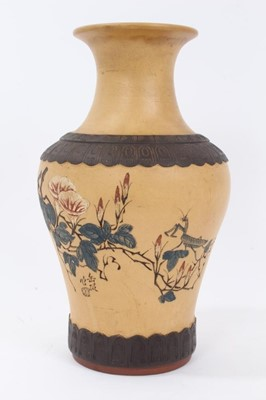 Lot 59 - Chinese Republic period Yixing pottery vase, decorated with a praying mantis in a blossoming tree, with calligraphy beneath and a mark in the footrim, 26cm height