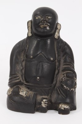 Lot 60 - Chinese earthenware figure of Buddha, painted black with silver highlights, marked to the base, 9cm height