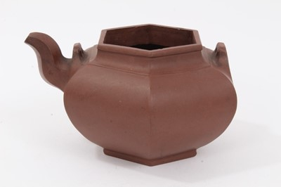 Lot 62 - 18th/19th century Chinese Yixing teapot of hexagonal form, 16cm across x 9cm height
