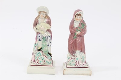 Lot 70 - Two rare Staffordshire pearlware figures of 'Summer' and 'Winter', c.1790, both shown seated on tree stumps with scrollwork decoration in the style of Neale, over red-lined square bases, impressed...