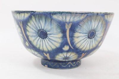 Lot 128 - William de Morgan lustre bowl decorated with flower-head motifs, 1888-1907 blue period