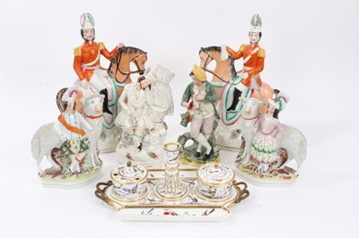 Lot 75 - Collection of Victorian Staffordshire figures, including a pair of soldiers on horseback, a pair of Highland children standing next to sheep, and three others, along with a Crown Derby inkstand pai...