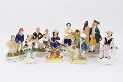 Lot 76 - Collection of eight Staffordshire figures, some Victorian and some later, including a pair of cricketers, The Falconer, etc, between 15cm and 21cm height