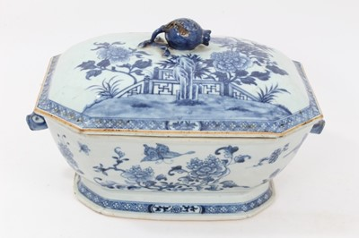 Lot 81 - 18th century Chinese blue and white export tureen, decorated with flowers and butterflies and rabbit-head handles, 34cm across x 22cm height