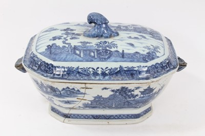 Lot 82 - 18th century Chinese blue and white export tureen, decorated with landscape scenes, 36cm across x 22cm height