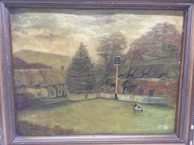 Lot 98 - Oil of board of the Castle Inn