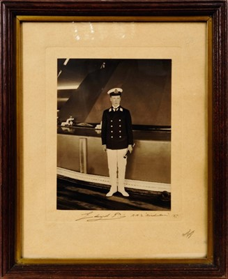 Lot 29 - H.R.H. Edward Prince of Wales (later H.M.King Edward VIII and the Duke of Windsor) presentation portrait photograph of the young Prince in naval mid-shipman uniform aboard the HMS Hindustan 1911,.