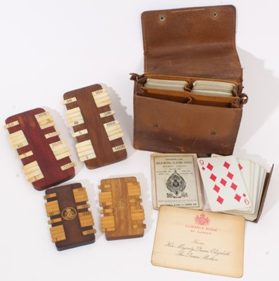 Lot 93 - Late 19th / early 20th century Bezique marker and playing card set, each marker