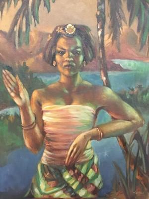 Lot 99 - Rudolf Haybrook (b. 1898) oil on canvas, portrait of a woman. named Tia Pau
