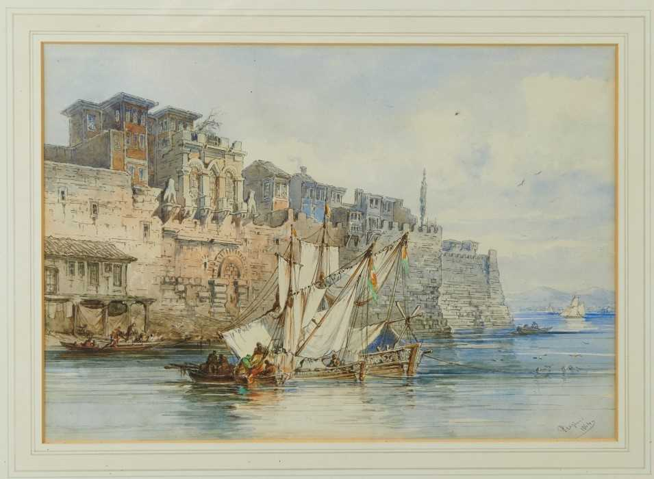 Lot 575 - Amadeo Preziosi (1816-1882) watercolour - fishing boats beside a harbour wall, probably Constantinople, signed and dated 1864, in glazed gilt frame