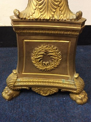 Lot 448 - Pair of impressive 19th century ormolu candelabra, on later bespoke painted wooden shaped stands