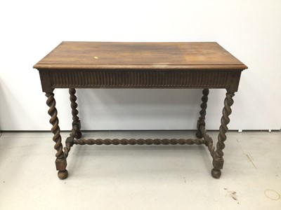 Lot 54 - 1920s oak hall table with barley twist stretcher, together with two chairs