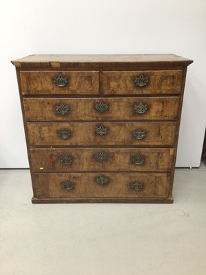 Lot 49 - 18th century walnut crossbanded chest of two short and four long drawers