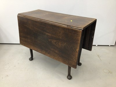 Lot 102 - 18th century oak drop leaf side  table on pad feet, together with a Victorian oak centre table