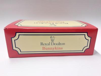 Lot 92 - Royal Doulton Bunnykins Robin Hood Collection base, with Robin Hood DB244, Maid Marion DB245, Will Scarlett DB264, Sheriff of Nottingham DB265, King Richard DB258; Friar Tuck DB246, Little John DB2...