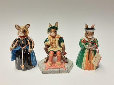 Lot 93 - Royal Doulton Bunnykins Tudor Collection base with Henry VIII DB305 and his wives Kathryn Howard DB310, Catherine Parr DB311. Anne of Cleves DB309, Anne Boleyn DB307, Jane Seymour DB308, Catherine...
