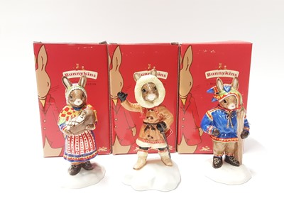 Lot 117 - Royal Doulton Bunnykins Summer Lapland DB298, Eskimo DB275 & Winter Lapland DB297, boxed