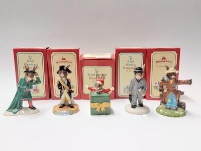 Lot 103 - Royal Doulton Bunnykins Limited Edition Nelson DB365 383/750, Scarecrow DB359 707/1000, Santa 'a Helper DB192 286 /2500,  Matador DB281 484/2000 & Businessman DB203 4359/5000, boxed