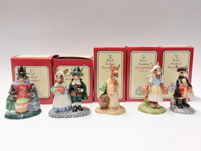 Lot 102 - Royal Doulton Bunnykins Limited Edition Pilgrim DB212 1624/2500, Dutch DB274 558/2000, Samuri DB280 157/2000, Town Crier DB269 904/2500 & Witches Cauldron DB293 1022/1500, boxed