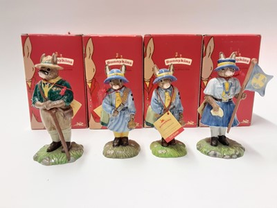 Lot 120 - Royal Doulton Bunnykins Scout Leader DB432, 2x Girl Guide DB431 & Guide Leader DB433, boxed