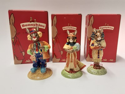 Lot 119 - Royal Doulton Bunnykins Collector's Club Ankhesen DB295, Tutankhamen DB296 & Clarence The Clown DB332, boxed