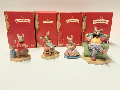Lot 121 - Royal Doulton Bunnykins polly Dreaming DB468, Easter Treat DB289, William Listening Intently DB442 & Once Upon a Time DB441, boxed