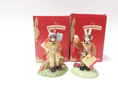 Lot 115 - Royal Doulton Bunnykins World War II Collection Land Girl DB372 & Pilot DB369, boxed