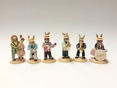 Lot 95 - Royal Doulton Bunnykins Limited Edition The Jazz Band Collection Clarinet Player DB184 1670/2500, Banjo Player DB182 2071/2500, Saxophonr Player DB186 1562/2500, Double Bass Player DB185 1840/2500,...