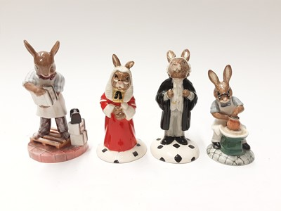 Lot 108 - Royal Doulton Bunnykins Collectors Club Judge DB188, Lawyer DB214, Vicar DB254, Choir Singer DB223, Mould Maker DB460 68/500, Master Potter DB131, Paintress DB465 19/500 & Saggar Maker DB423 17/500...