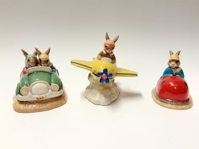 Lot 111 - Royal Doulton Bunnykins Limited Edition Dodgem DB249 1087/2500, Day Trip DB260 890/25000 & Chocs Away DB267 235/2000, no boxes