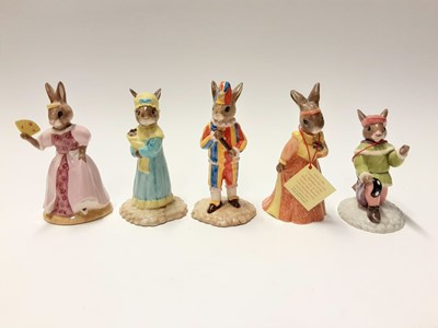 Lot 112 - Royal Doulton Bunnykins Collectors Club Cinderella DB231, Juliet DB283, Romeo DB284, plus The Punch &Judy Collection Limited Edition Mr Punch DB234 541/2500 & Judy DB235 704/2500, no boxes