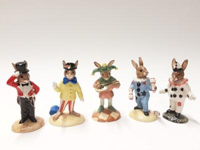 Lot 109 - Royal Doulton Bunnykins Limited Edition Ringmaster DB165, Joker DB171, Clown DB128, Jester DB181 & Juggler DB164, no boxes