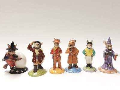 Lot 113 - Royal Doulton Bunnykins Limited Edition Airman DB199 issued 5000, Cowboy DB201 1129/2500, Wizard DB168 144/2000, Detective DB193 1646/2500, Jockey DB169 1372/2000 & Trick or Treat DB162 issued 1500...