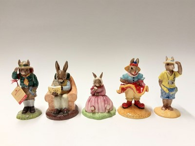 Lot 105 - Royal Doulton Bunnykins Collectors Club Tourist DB190, Polly DB402, Boy Scout DB430, Clarissa the Clown DB331 & Collector DB54, no boxes