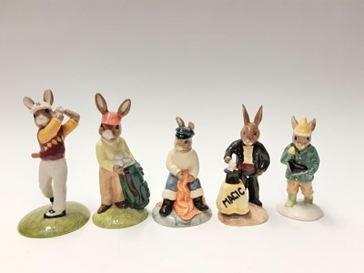 Lot 100 - Royal Doulton Bunnykins Doctor DB181, Ice Cream DB82, Fortune Seller DB218, Cook DB85, Fireman DB75, Gardener DB156, Nurse DB74, Mystic DB197,  2x Fisherman DB170, Magican DB126, Girl Skater DB153...