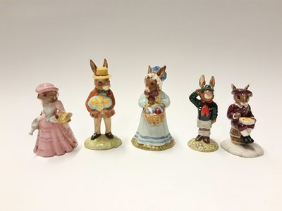 Lot 97 - Royal Doulton Bunnykins Easter Parade Mrs Bunnykins DB19 & Mr Bunnykins DB18, plus The Nursery Rhyme Collection Little Boy Blue DB239, Little Bo Peep DB220, Wee Willie Winkie DB270, Jack & Jill DB2...