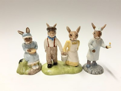Lot 97 - Royal Doulton Bunnykins Easter Parade Mrs Bunnykins DB19 & Mr Bunnykins DB18, plus The Nursery Rhyme Collection Little Boy Blue DB239, Little Bo Peep DB220, Wee Willie Winkie DB270, Jack & Jill DB2...