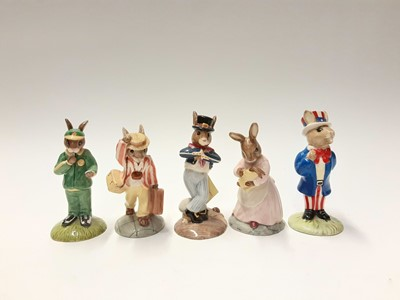 Lot 99 - Royal Doulton Bunnykins Bride DB101, Groom DB102, Bridesmaid DB173, Father DB154, Father Mother & Victoria DB68, Ballerina DB178, Mother DB189, Mother & Baby DB167; Shooper DB233, Stopwatch DB253,...