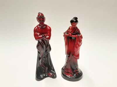 Lot 15 - Two Royal Doulton Flambé figures - The Geisha HN3229 and The Genie HN2999