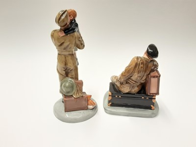 Lot 21 - Two Royal Doulton limited edition figures - Farewell Daddy HN4363, number 914 of 2500, and The Railway Sleeper HN4418, number 1580 of 2500