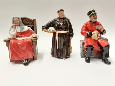 Lot 48 - Three Royal Doulton figures - The Jovial Monk HN2144, Past Glory HN2484 and Judge HN4412