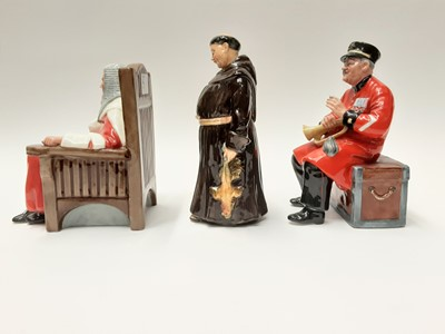 Lot 48 - Three Royal Doulton figures - The Jovial Monk HN2144, Past Glory HN2484 and Judge HN4412