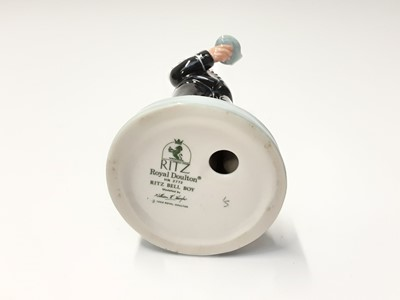 Lot 54 - Three Royal Doulton figures - Robert Burns HN3641, Ritz Bell Boy HN2772 and Grandpa's Story HN3456