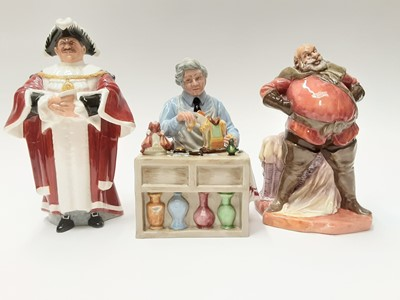 Lot 55 - Three Royal Doulton figures - The China Repairer HN2943, The Mayor HN2280 and Falstaff HN2054