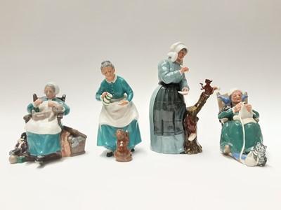 Lot 57 - Four Royal Doulton figures - Good Friends HN2783, The Favourite HN2249, Nanny HN2221 and Twilight HN2256
